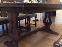 Old Charm oak dining table & chairs