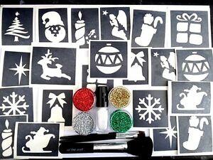 Lg BODY ART GLITTER TATTOO `CHRISTMAS `KIT-G8 4 a PARTY