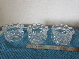 THREE CLEAR CANDY DISHES /BOWLS