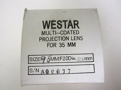 Westar 95mm FL Speed F2.0 35mm Cine Projector Lens New MIB