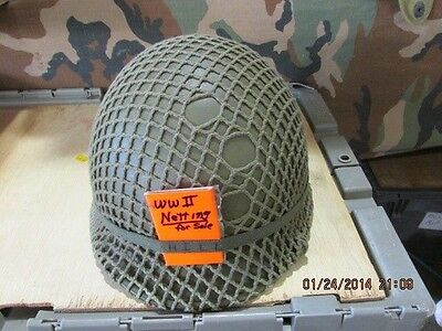WW II vintage British olive drab helmet netting for US/British GI helmet
