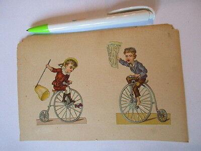 2 schöne alte Präge Oblate Glanzbild Kinder auf dem Einrad um 1890