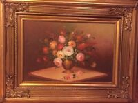 Oil painting signed ornate frame over 4 ft large
