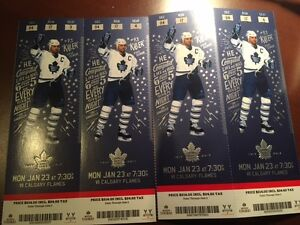 Leafs vs. Flames - 4x First Row Reds ***FACE VALUE*** Cambridge Kitchener Area image 1