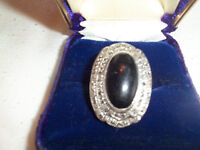 Vintage Onyx and Rhinestone Cocktail Ring