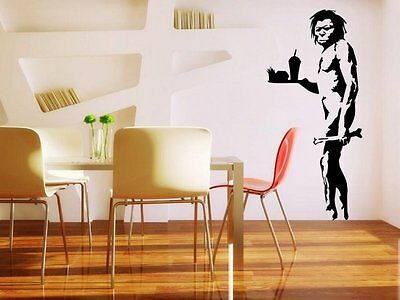 Banksy - Caveman with fast food XL - version 2 - Wall Stickers. Many colours.New