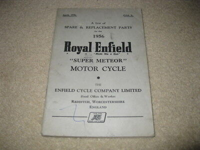 Royal Enfield Motorcycle Spare & Replacement Parts Handbook Manual Super Meteor