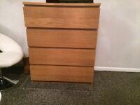 Chest of 4 drawers MALM Oak veneer