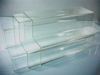 Set Of 3 Clear Acrylic 2-tier Steps Display Riser Stand 10 X 4.75 Wholesales
