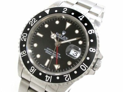Auth ROLEX GMT Master 16700 Silver Black Men's Wrist Watch T221506