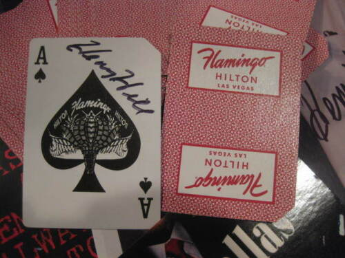 WORLD FAMOUS FLAMINGO CASINO PLAYING CARD SIGNED BY HENRY HILL OLD SCHOOL