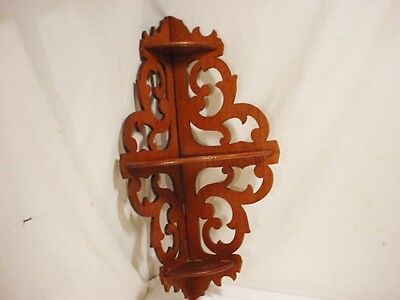 VTG Ornate Wood Corner 3 Tier WALL Shelf CURIO Display Carved Shelves Folding (Vintage Corner Shelves)