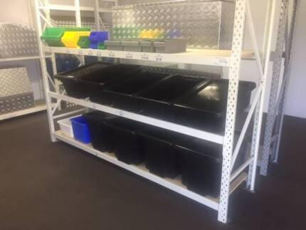 Longspan Shelving Systems  With Plastic Bin Storage