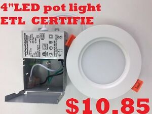 """LED 4"""" pot lights .with driver in isolated Box .ETL approved"""