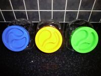 Retro 1970's Pasabahce screw top cookie/sweet/storage jars in yellow, blue or green