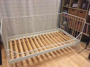 White Ikea Metal Day Bed - Meldal - with slats