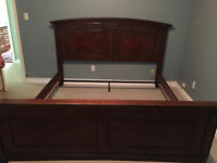 King Size bed frame + box springs and side table