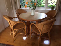 Circular Maple Dining / Kitchen Table and Cane Chairs