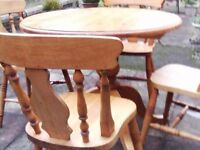 ANTIQUE PINE CHAIRS ( 4) AND TABLE