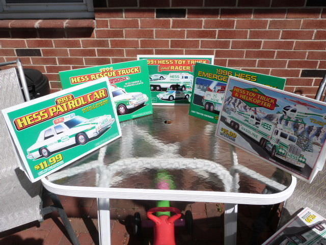 VINTAGE LOT OF 5 1991 1993-1996 HESS TOY TRUCK & HELICOPTER DEALER DISPLAY SIGNS