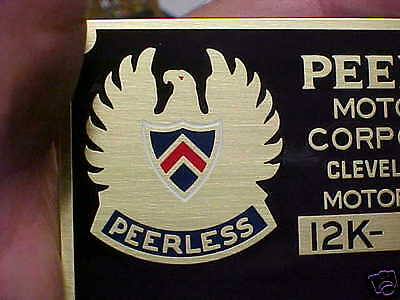 Peerless Motor Car Data Plate acid etched brass