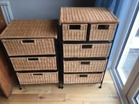 Pair of wicker drawer units