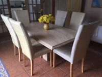 Marble dining table, 6 dining chairs and oak sideboard