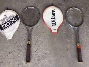 Pair of vintage Wilson T-2000 metal tennis racquets