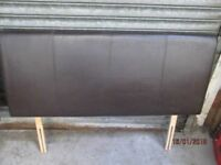 *+DOUBLE ( 4 feet 6 wide )PADDED BROWN FAUX LEATHER HEADBOARD/GOOD CONDITION/delivery available*+*