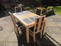 Light Oak colour dining table and 4 chairs plus matching TV unit & coffee table