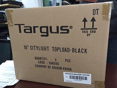"""Box of 5 NEW Targus CityLite Laptop Case Notebook Carrying Case 16"""" Black tbt053"""