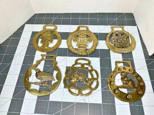 VTG lot 6 brass horse harness medallions Queen Mayflower Fish Quail Fox HRHWales