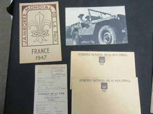 1947 World Jamboree Postcards and Luggage Security Card        c85
