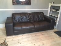 Dark Brown Leather 3 & 2 Seater Sofas
