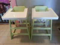 High chair with the tray