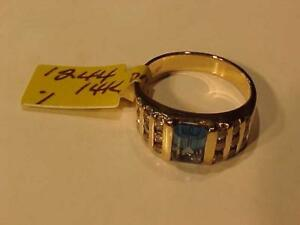 #1244-14K Y/Gold Size 7-Older TOPAZ & DIAMOND(18) DRESS RING WILL SHIP FREE IN CANADA ONLY-INTERAC BANK TRANSFER ACCEPTE
