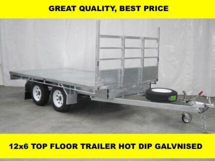 12x6 TOP FLOOR HOT DIP GALVANISED TRAILER, 3300kg ATM