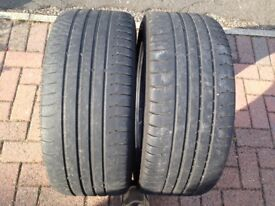 Pair of tyres 245/40R19 for 19 inch wheels. Worn but legal! One has been repaired.
