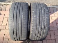 """Pair of tyres 245/40R19 19"""" Worn but legal!"""