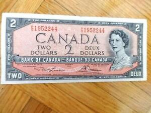 1954 Canadian $2 bill Circ Lawson and Bouey Canadian Pre- Toonie Two Dollar Bill only one! Oakville Ontario Canada