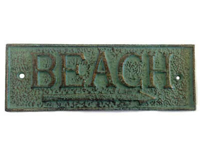 Antique Bronze Cast Iron Beach Sign 9