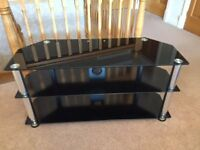 Chrome and black glass TV Stand for sale
