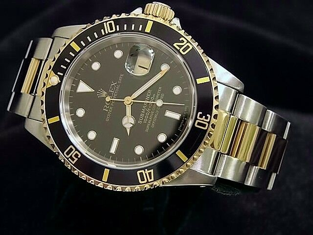 Rolex Mens Submariner Date 18k Yellow Gold Stainless Steel Watch Black Sub 16613