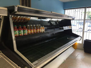 Produce Cooler & 5 wooden produce stands on wheels - $500