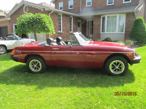 1979 MGB CONVERTIBLE, RED, LOW KMS, EXCELLENT COND.