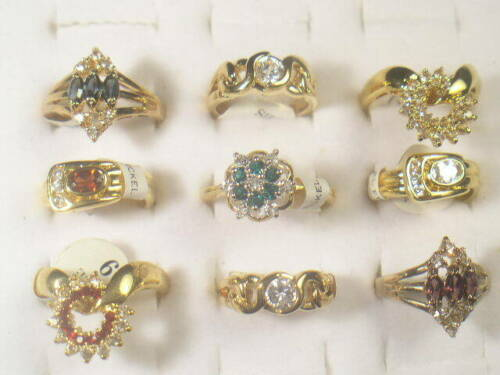 9. . DESIGNER  DOLPHIN ORE RINGS VINTAGE WITH SWAROVSKI CRYSTALS LOT 219UP