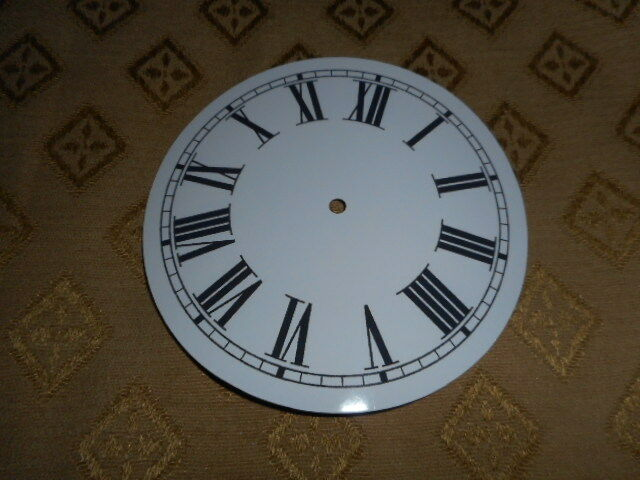 "Round Paper Clock Dial-  5"" M/T - Roman - High Gloss White - Face /Clock Parts"