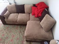 L-Shaped Corner Sofa with Fabric Cushions - open to best offer