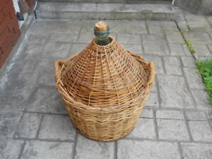 Vintage French-Italian 50 Litre Demijohn Wicker Wine Jug
