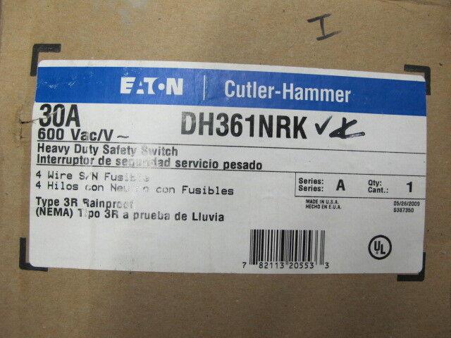 Cutler Hammer  DH361NRK, 30 Amp, 600 Volt, Fusible, NEMA 3R, Disconnect- NEW